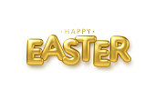 Golden metallic shiny typography Happy Easter. 3D realistic lettering for the design of flyers, brochures, leaflets, posters and cards EPS10