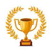 Golden metallic trophy cup first place winner award with laurel wreath vector illustration
