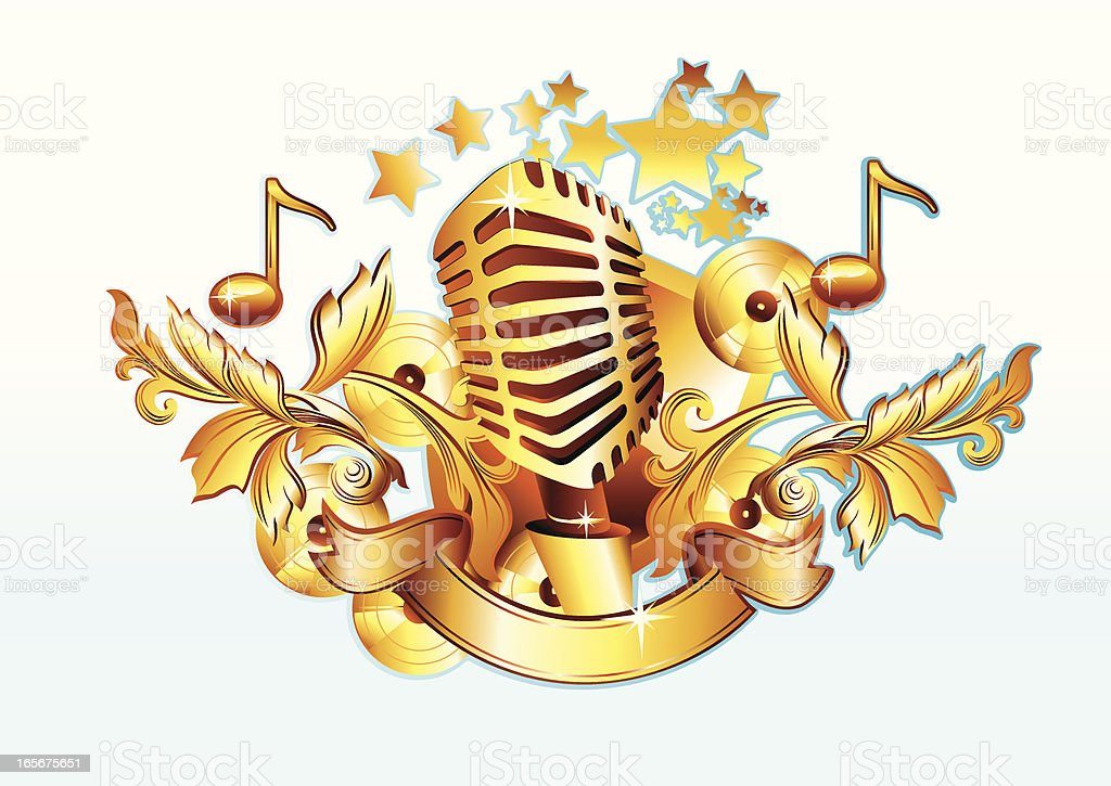 Golden Microphone royalty-free golden microphone stock vector art & more images of abstract