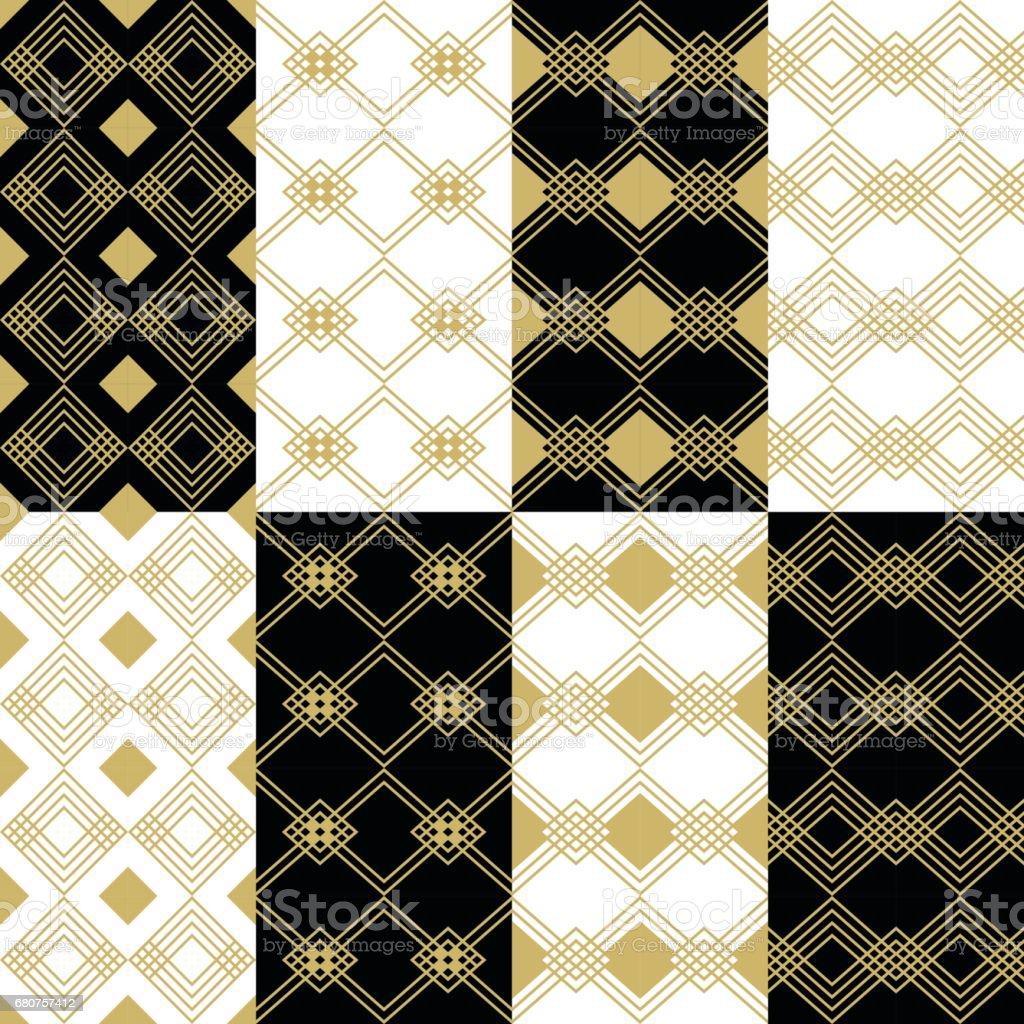 Conjunto de padrões quadrados ouro moderno art déco em fundos preto e brancos - ilustração de arte em vetor