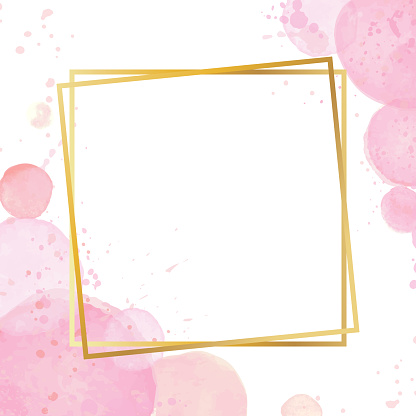 Golden modern frame with a watercolor effect background. Nude rose brush strokes. Gold round contour frame. Golden luxury line border for invitation, card, sale, fashion, wedding. Vector illustration