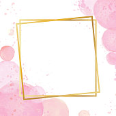 Golden modern frame with a watercolor effect background. Nude rose brush strokes. Gold round contour frame. Golden luxury line border for invitation, card, sale, fashion, wedding. Vector illustration.