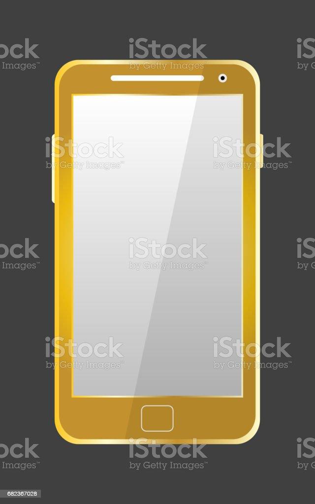 Golden modern mobile phone isolated. Vector illustration golden modern mobile phone isolated vector illustration - immagini vettoriali stock e altre immagini di brillante royalty-free