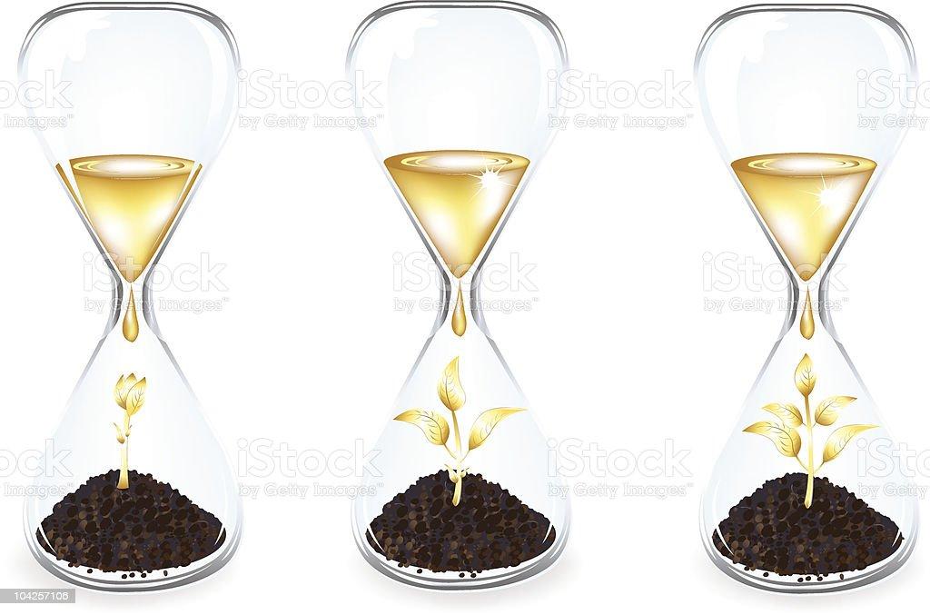 Golden Money tree inside Glass clock royalty-free stock vector art