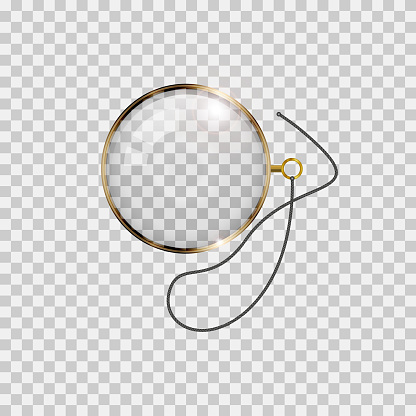 Golden monocle with lace isolated on transparent background. Realistic vector illustration