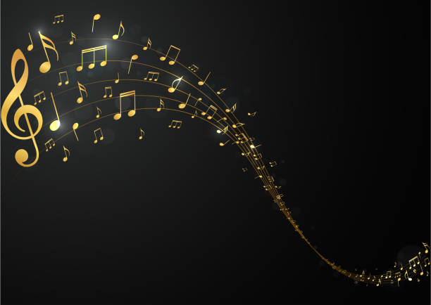 goldene noten hintergrundmusik - musiksymbole stock-grafiken, -clipart, -cartoons und -symbole