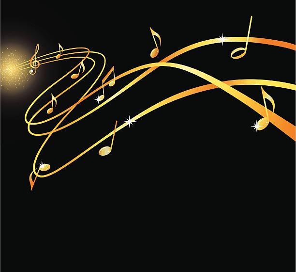 Golden musical flow vector art illustration
