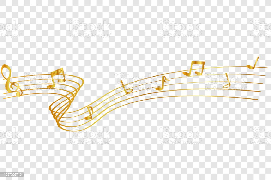 golden Musical Note waving line, for your element design, at transparent effect background - Grafika wektorowa royalty-free (Bez ludzi)