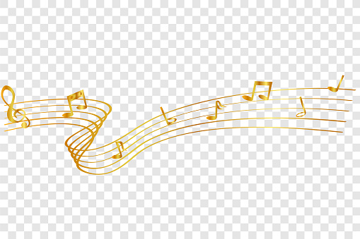 golden Musical Note waving line, for your element design, at transparent effect background