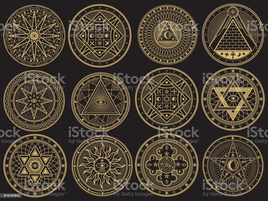 Mistério dourado, bruxaria, ocultismo, alquimia, místicos símbolos esotéricos - ilustração de arte em vetor