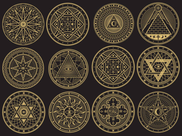 Golden mystery, witchcraft, occult, alchemy, mystical esoteric symbols vector art illustration