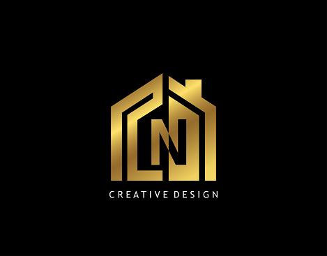 Golden N Letter Logo. Minimalist gold house shape with negative N letter, Real Estate Building Icon Design.