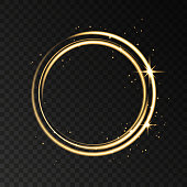 Golden neon ring  lights effect isolated on black transparent background. Shining  gold  magic flash energy beams. Vector template.