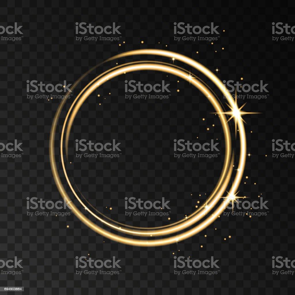 Golden neon circle light effect isolated on black transparent background. vector art illustration