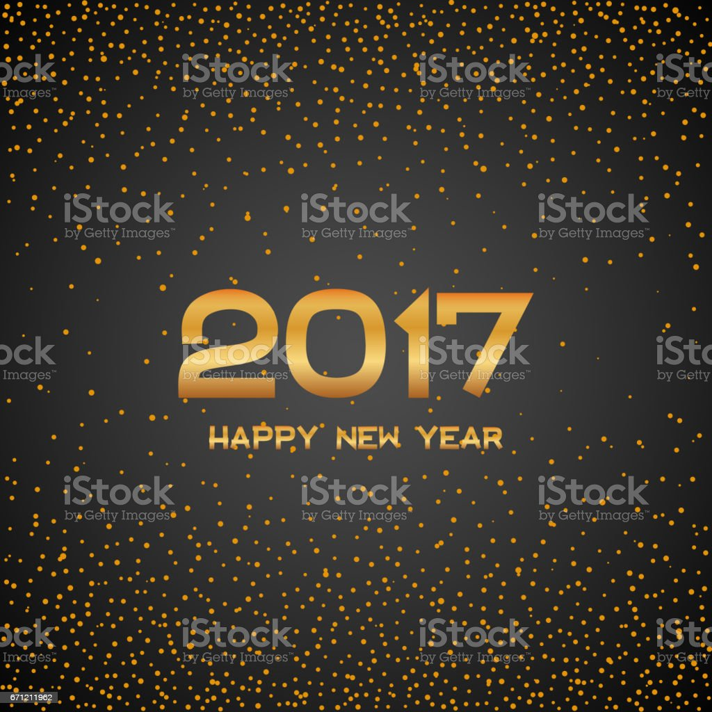 golden new year 2017 particles background gold circle dot number vector eve sparkle elements