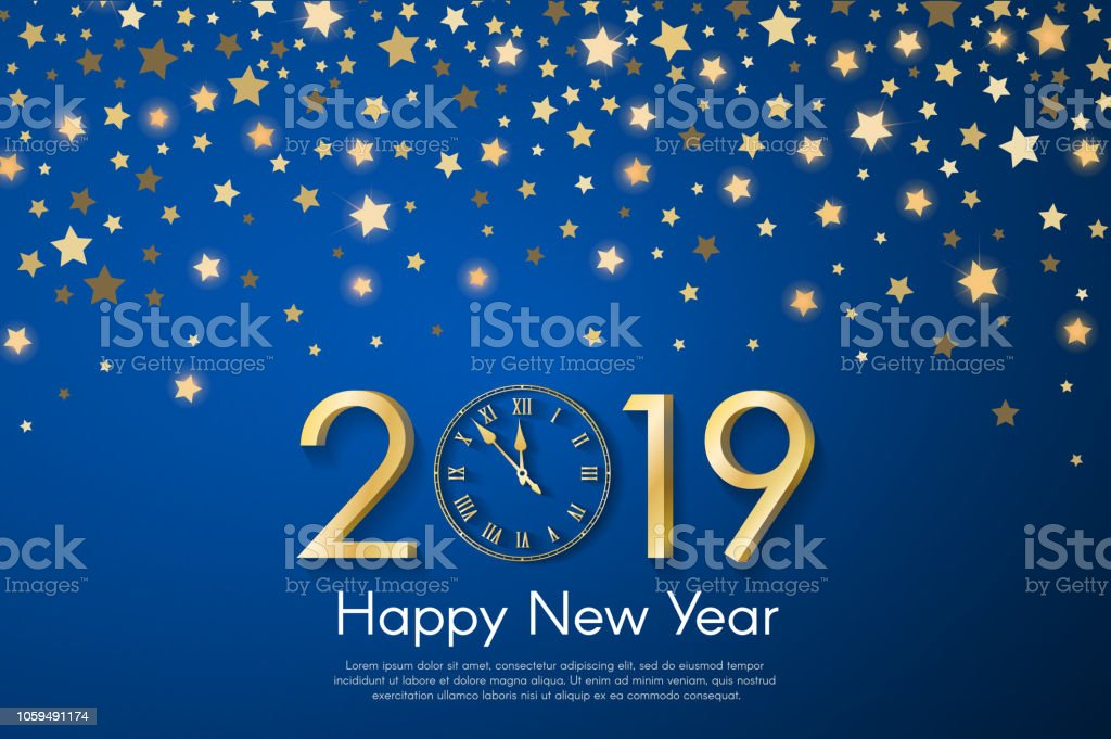 golden new year 2019 concept on blue blurry starfall background vector greeting card illustration with