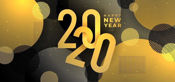 Golden new year 2020 banner with geometric decoration. Vector illustration eps 10.