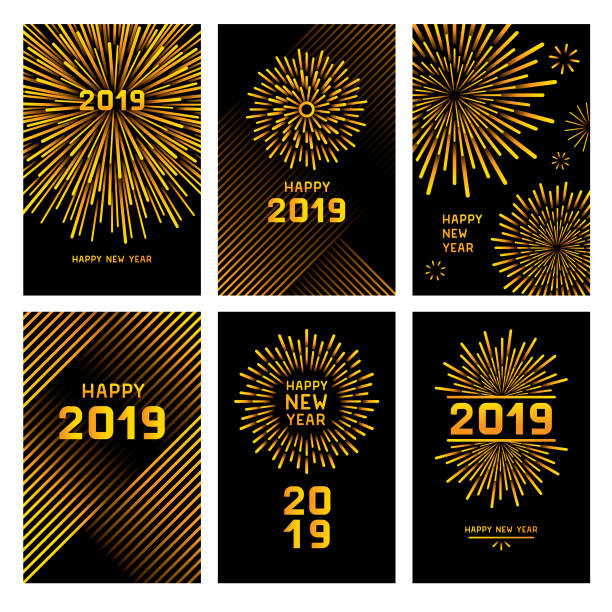 Golden new year fireworks Editable set of vector illustrations on layers. This image includes clipping masks. pyrotechnic effects stock illustrations