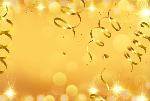 Golden New Year holiday background with bokeh and confetti. Vector illustration.