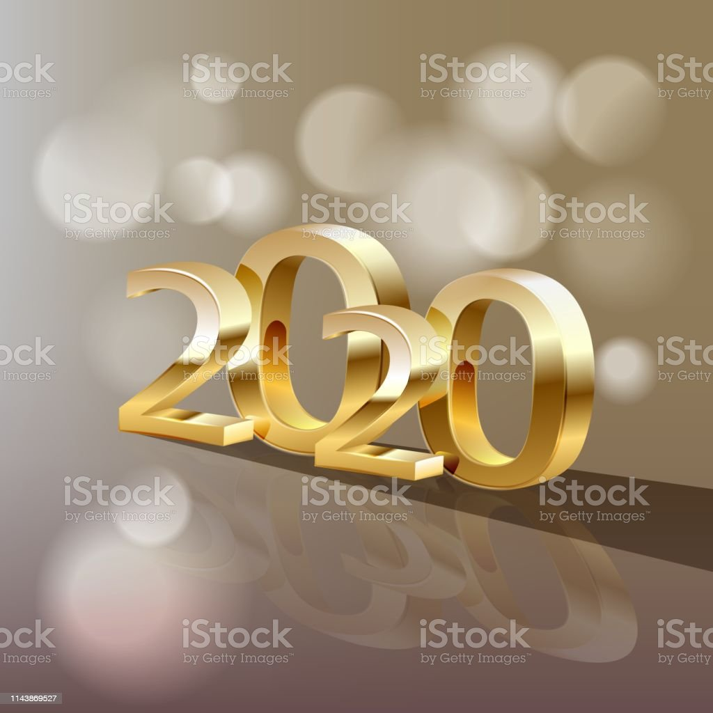 2020 golden New Year sign on winter holiday background. Vector New...