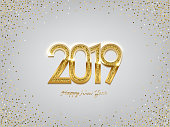 2019 golden New Year sign on winter holiday background. Vector New Year illustration.