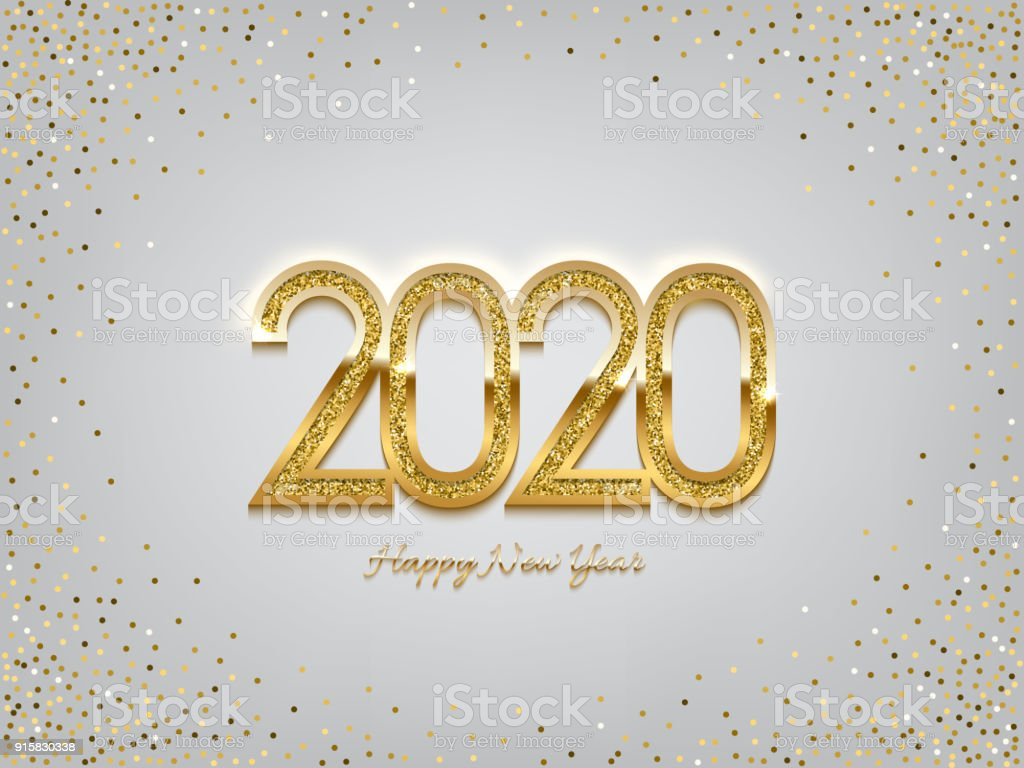 2020 golden new year sign on winter holiday background vector new year illustration royalty