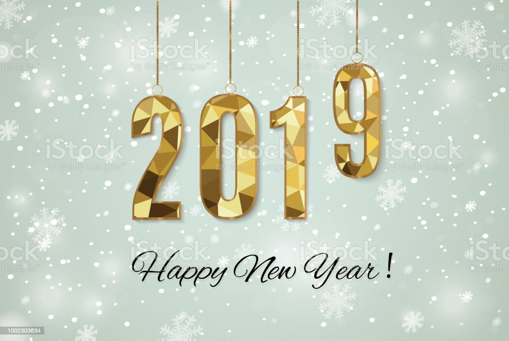 2019 golden new year sign with golden glitter and loading panel on black background vector