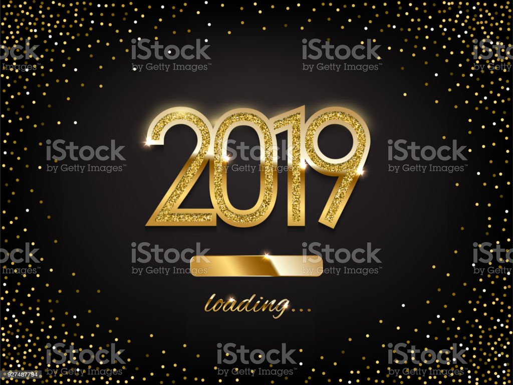 2019 golden new year sign with loading panel on black background vector new year illustration