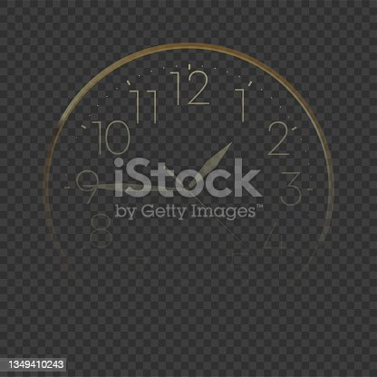 istock Golden New Year's clock on a transparent background. Vector 1349410243