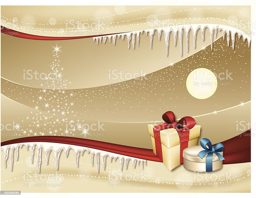Golden Night with Holiday Gifts royalty-free stock vector art