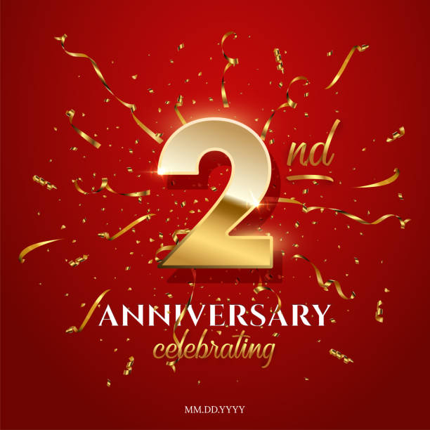 2 golden number and Anniversary Celebrating text with golden serpentine and confetti on red background. Vector second anniversary celebration event square template. 2 golden number and Anniversary Celebrating text with golden serpentine and confetti on red background. Vector second anniversary celebration event square template gezond stock illustrations