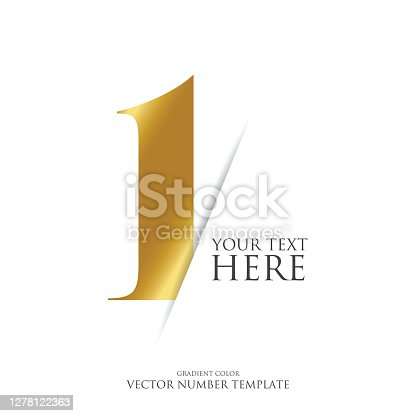 istock Golden number vector stock illustration. Gradient color. Typography Design Element. 1278122363
