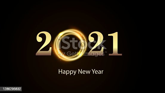 istock Golden numbers 2021 with bright flash on black background. Happy New Year Vector 1286295832