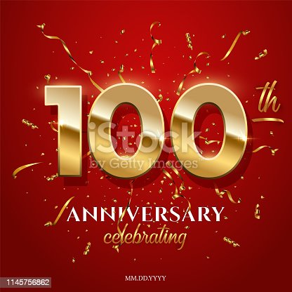 100 golden numbers and Anniversary Celebrating text with golden serpentine and confetti on red background. Vector hundredth anniversary celebration event square template
