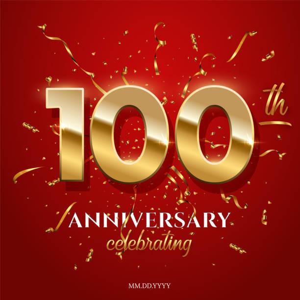 bildbanksillustrationer, clip art samt tecknat material och ikoner med 100 gyllene nummer och årsdag firar text med gyllene serpentine och konfetti på röd bakgrund. vektor hundradel årsdagen firande händelse kvadrat mall. - nummer 100