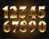 Golden numbers set on dark background isolated. Gold number one two three four five six seven eight nine and zero or null. Vector illustration stock vector.