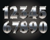 Silver numbers set on dark background isolated. Silver number one two three four five six seven eight nine and zero or null. Vector illustration stock vector.