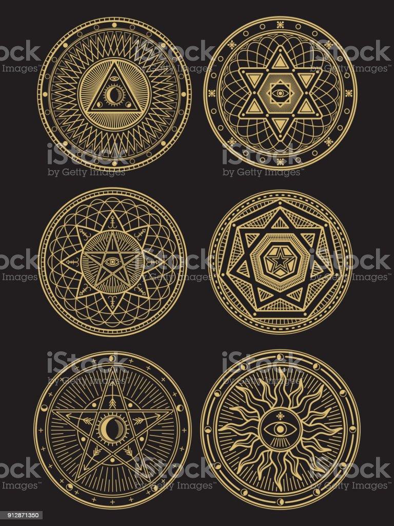 Símbolos de oro vector oculto, místico, espiritual, esotérico - ilustración de arte vectorial