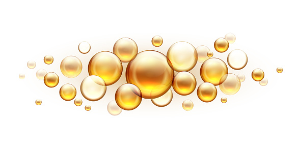 Golden oil bubbles. Cosmetic collagen serum, castor argan jojoba essence vector realistic template isolated on white background