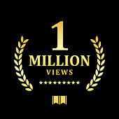 istock Golden One Million Views Emblem 1056859720