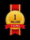 Vector illustration of 1 million view emblem design banner template with red colored. EPS Ai 10 file format.