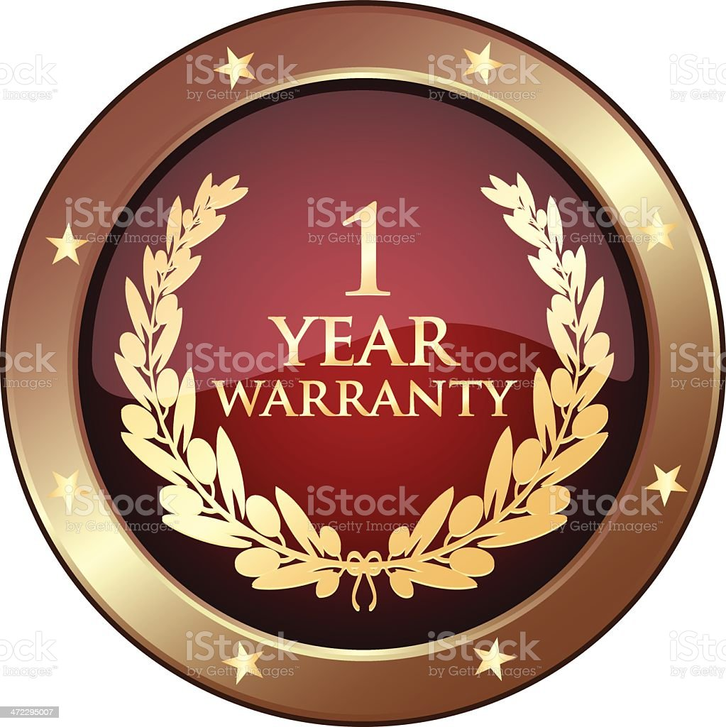 Golden One Year Warranty Shield royalty-free stock vector art
