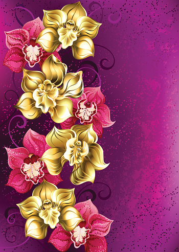 Orquídea de oro sobre un fondo rosa