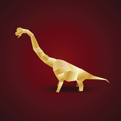golden origami Brachiosaurus