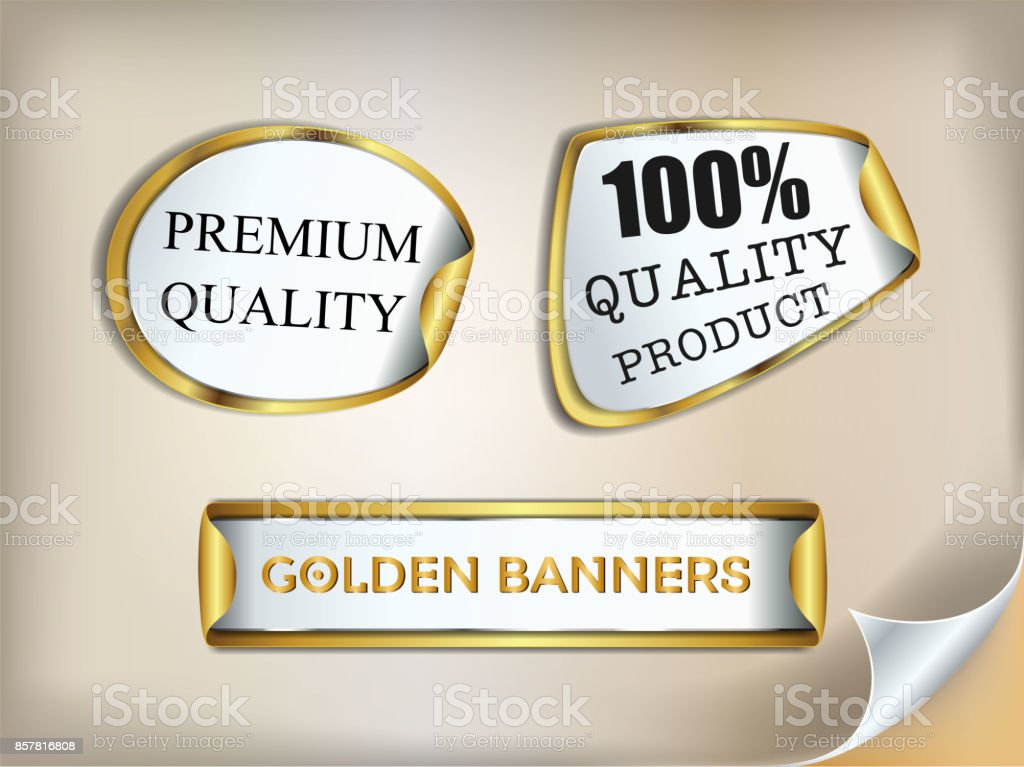 Golden Origami paper info-graphic gold banners set. Annotation ribbon. Advertising Design shape. Speech talking cloud. Vector label tag. vector art illustration