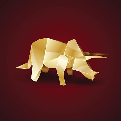 golden origami Triceratops