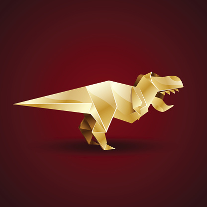 golden origami Tyrannosaurus Rex