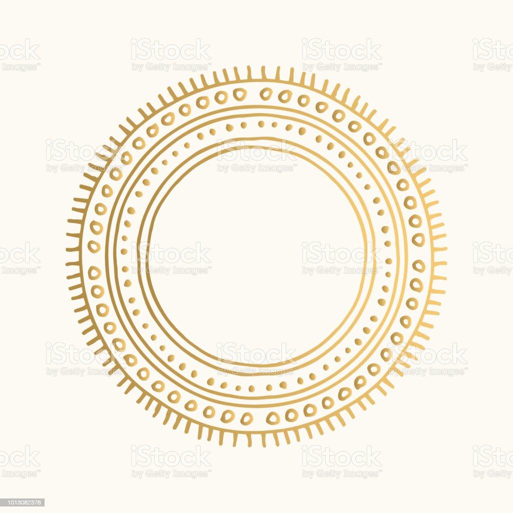 Marco ornamental de oro. Frontera vintage vector. Mano dibuja diseño tribal. - ilustración de arte vectorial
