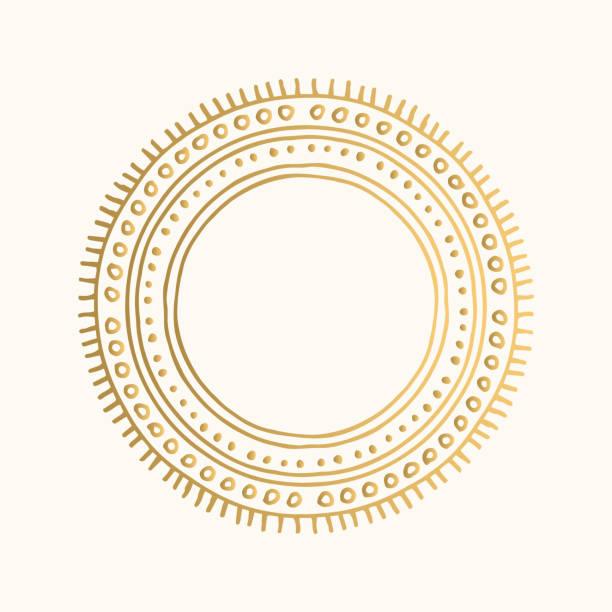 stockillustraties, clipart, cartoons en iconen met gouden sier frame. vector vintage grens. hand getekend tribal design. - boho