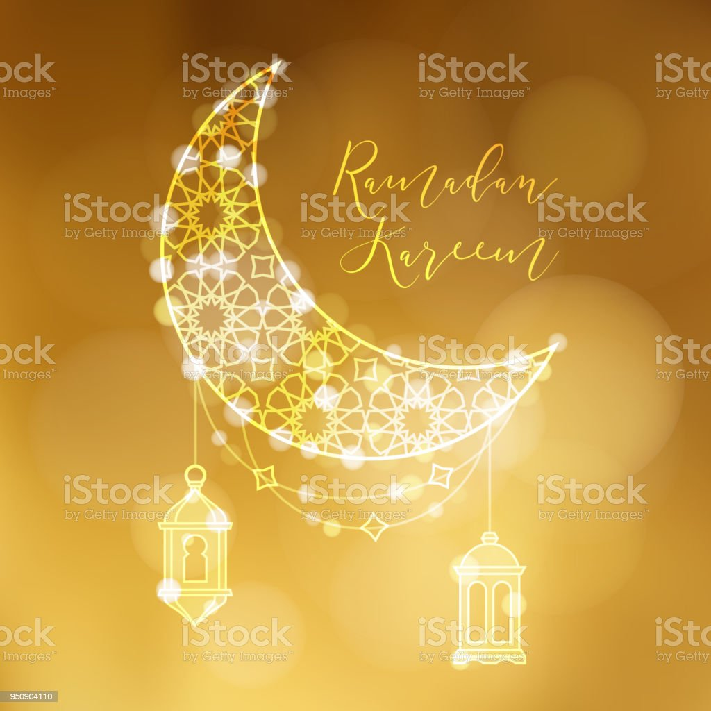 Download Moon Star Light Eid Al-Fitr Decorations - golden-ornamental-moon-with-arab-lanterns-and-bokeh-lights-festive-vector-id950904110  Gallery_989013 .com/vectors/golden-ornamental-moon-with-arab-lanterns-and-bokeh-lights-festive-vector-id950904110